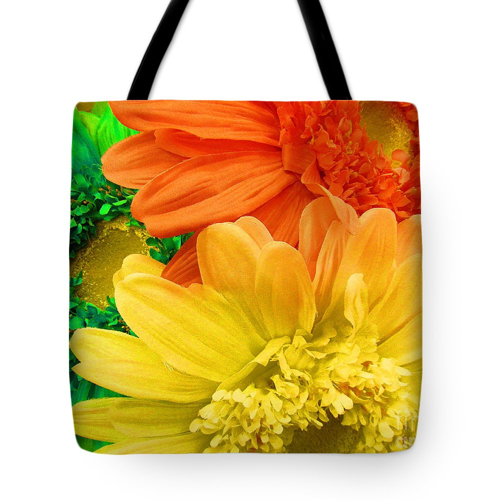 Tote Bag featuring the photograph Trio Of Bright Colored Daisies by Tina M Wenger