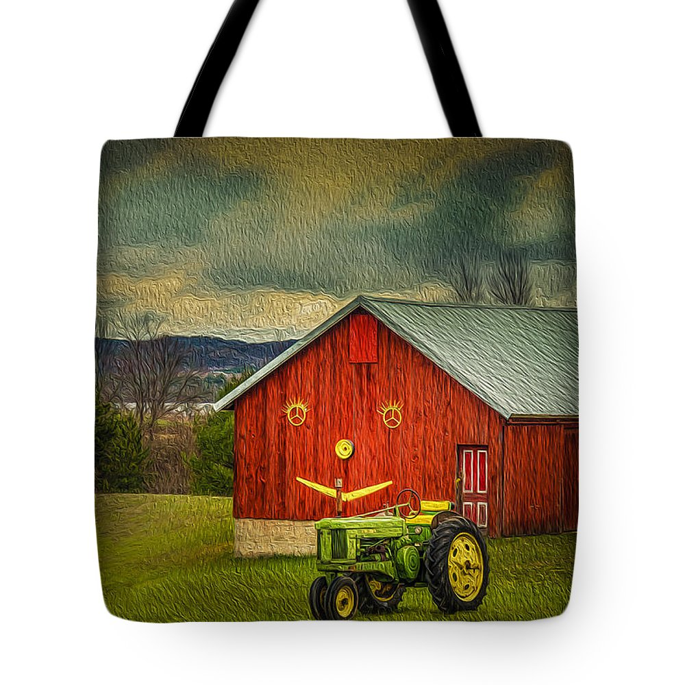 Red Barn Tote Bag featuring the photograph Trip To The Happy Farm by LeeAnn McLaneGoetz McLaneGoetzStudioLLCcom