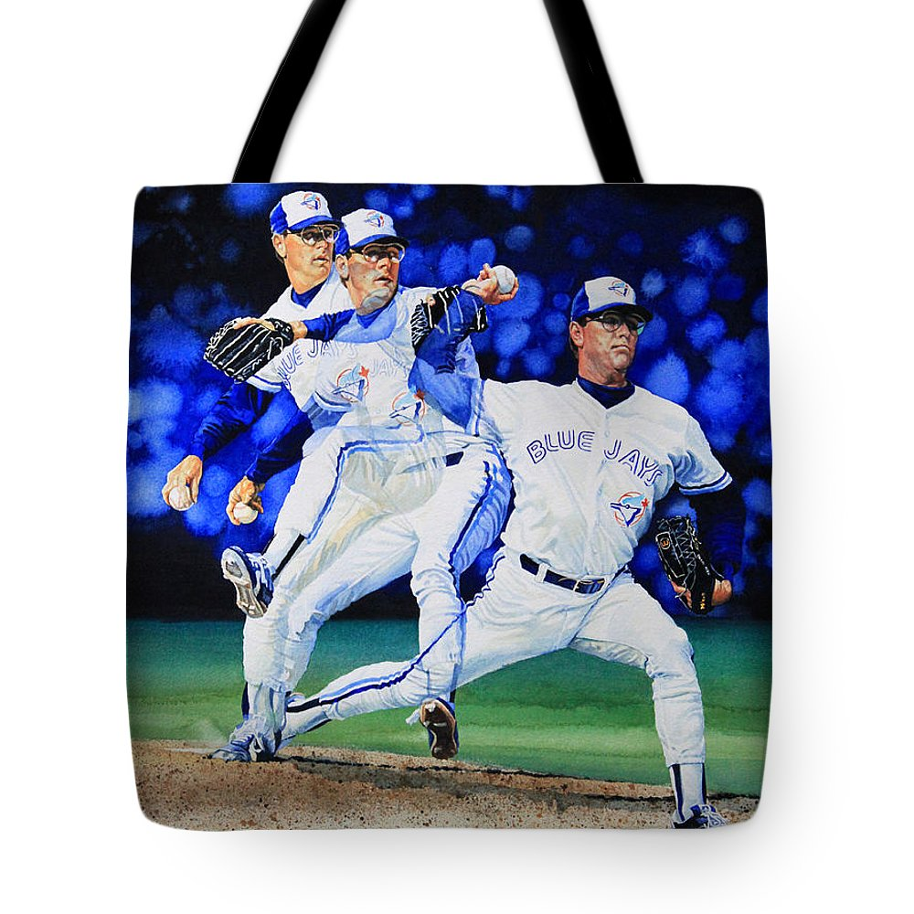 Sports Art Tote Bag featuring the painting Triple Play by Hanne Lore Koehler