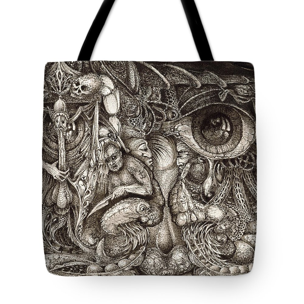 Surreal Tote Bag featuring the drawing Tripping Through Bogomils Mind by Otto Rapp