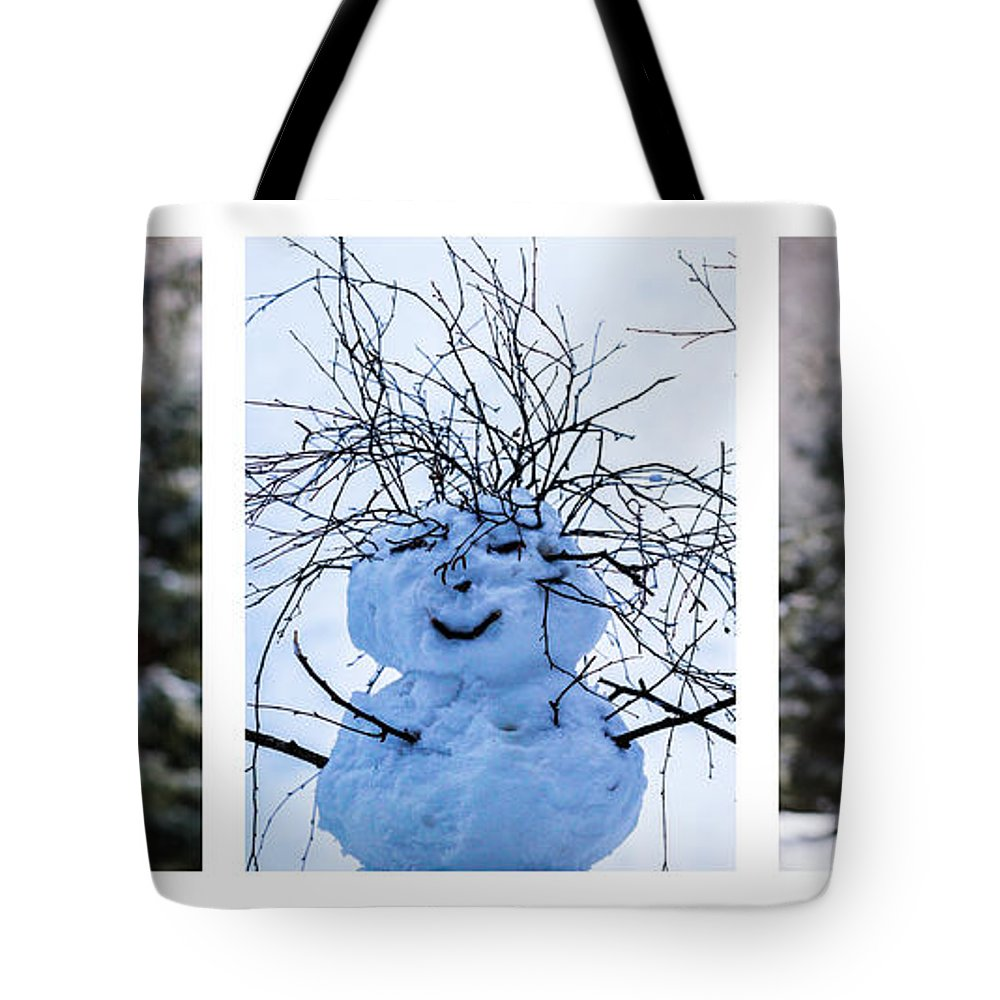 Santa Tote Bag featuring the photograph Triptych - Christmas Trees And Snowman - Featured 3 by Alexander Senin