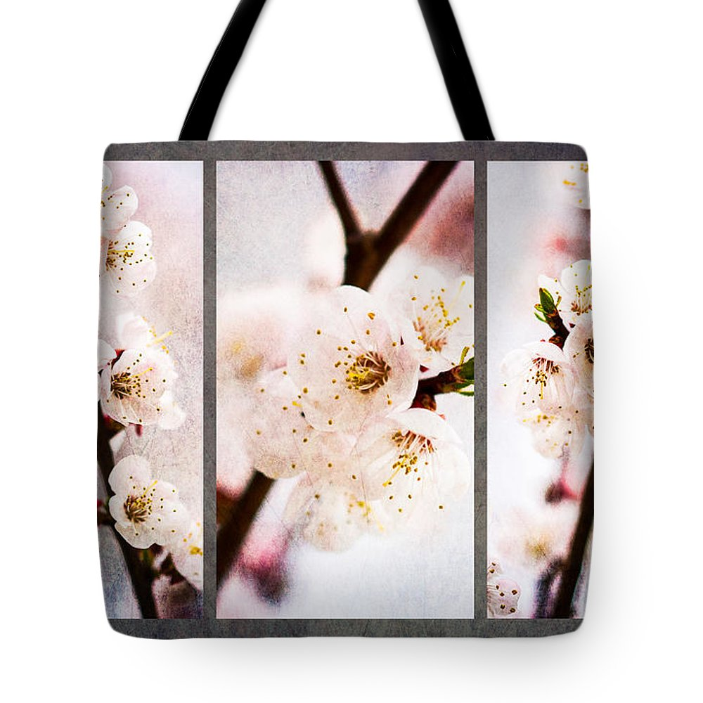 Flower Tote Bag featuring the photograph Triptych Light Of Spring 1 by Alexander Senin