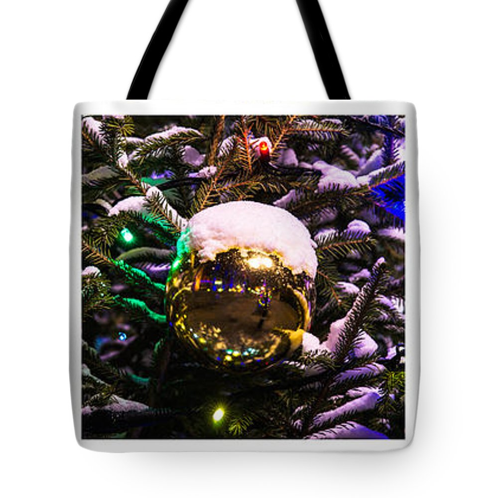 Background Tote Bag featuring the photograph Triptych - Traffic Lights Christmas - Featured 2 by Alexander Senin