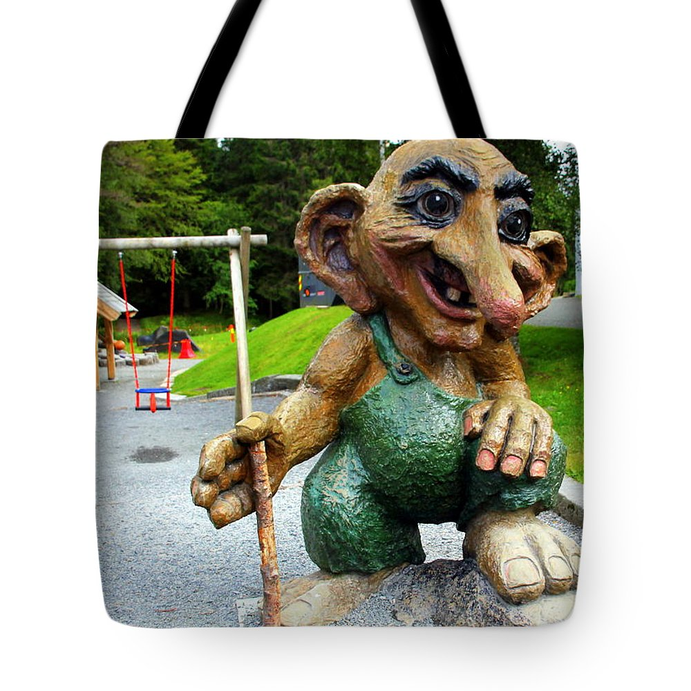 Guard Tote Bag featuring the photograph Troll Guard by Laurel Talabere