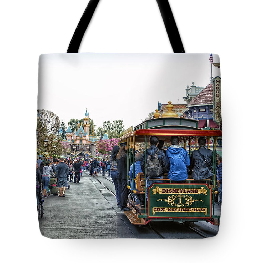 Disney Tote Bag featuring the photograph Trolley Car Main Street Disneyland 01 by Thomas Woolworth