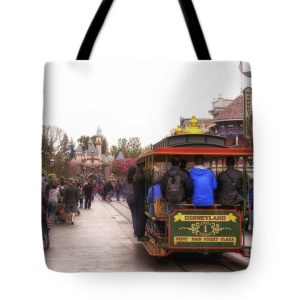 Disney Tote Bag featuring the photograph Trolley Car Main Street Disneyland 02 by Thomas Woolworth