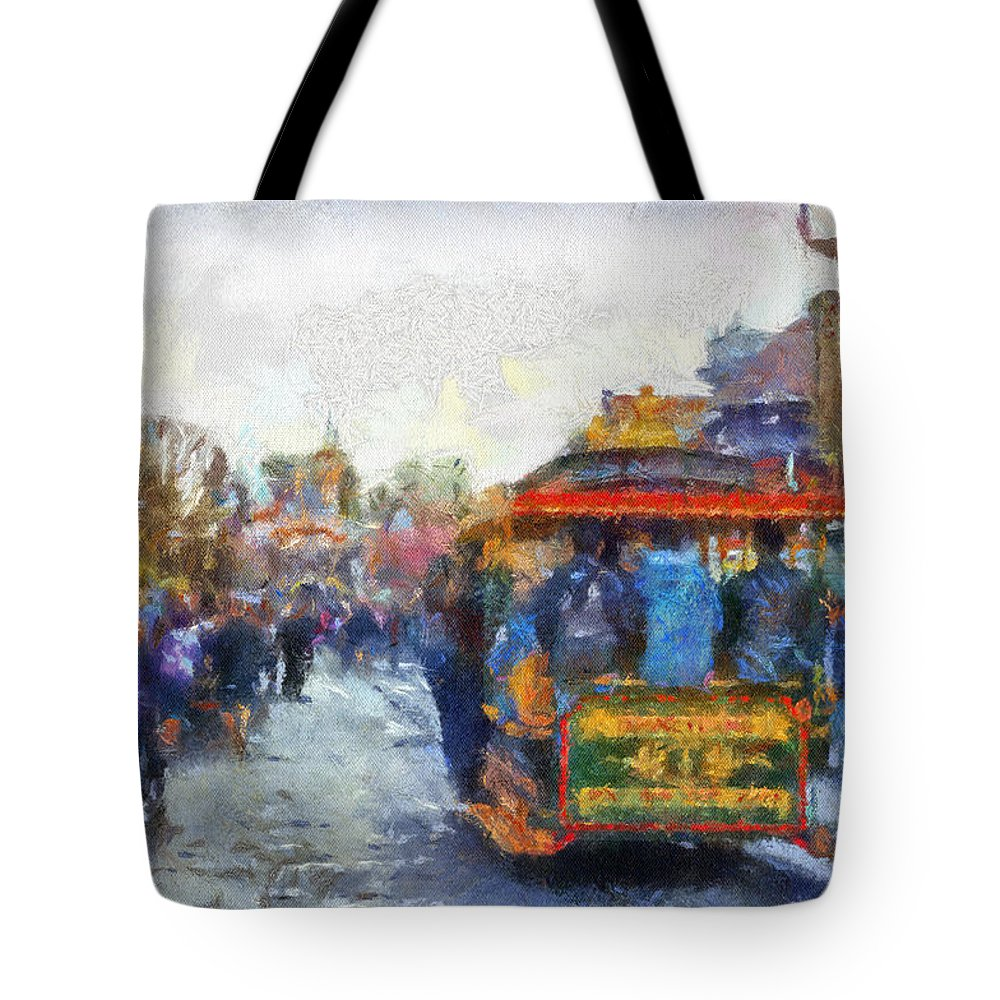 Disney Tote Bag featuring the photograph Trolley Car Main Street Disneyland Photo Art 02 by Thomas Woolworth