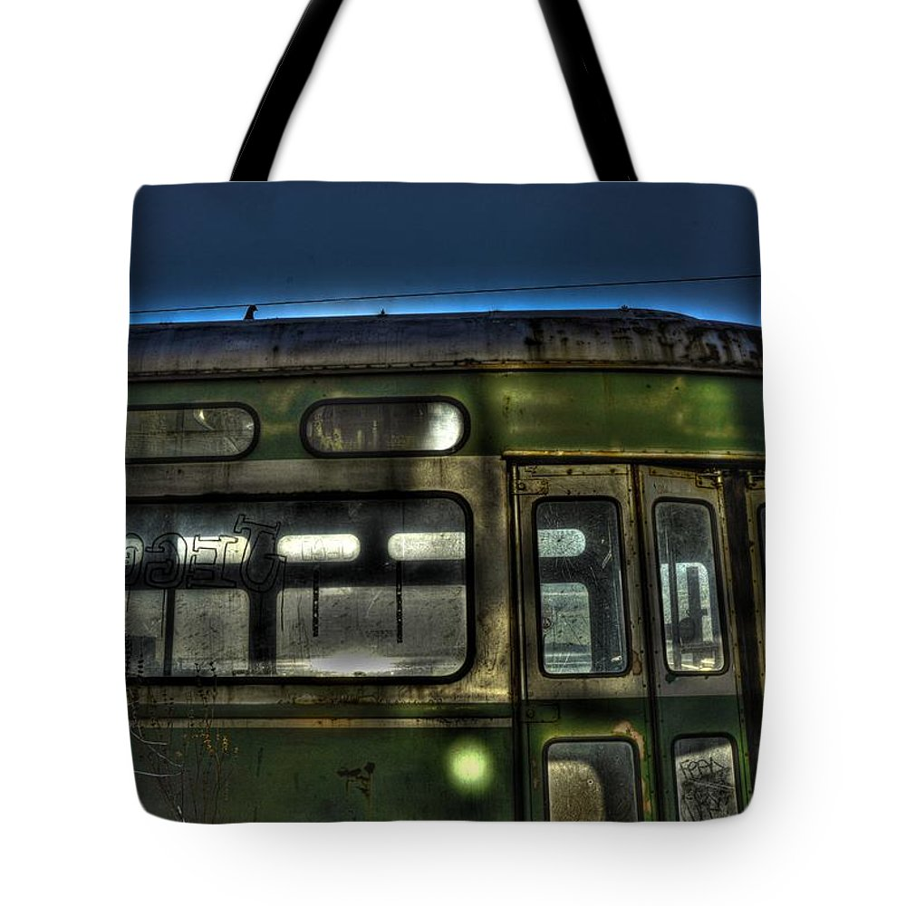 New York Tote Bag featuring the photograph Trolley Windows by Jeff Watts