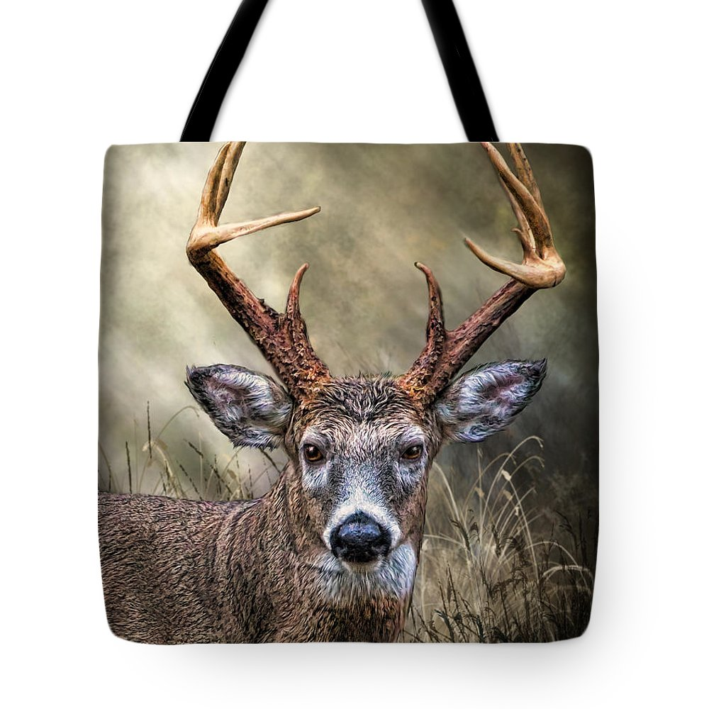 Animal Tote Bag featuring the digital art Trophy 10 Point Buck by Mary Almond