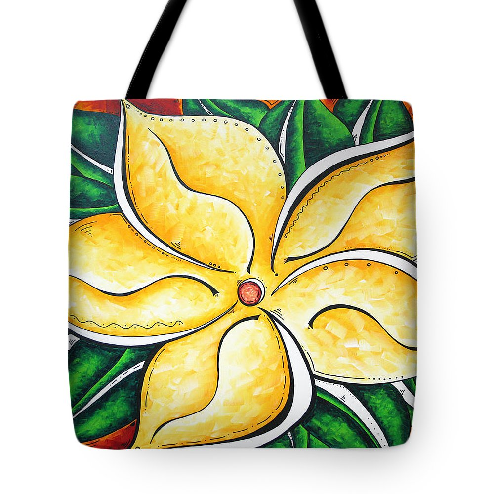 Tropical Tote Bag featuring the painting Tropical Abstract Pop Art Original Plumeria Flower Painting Pop Art Tropical Passion By Madart by Megan Duncanson