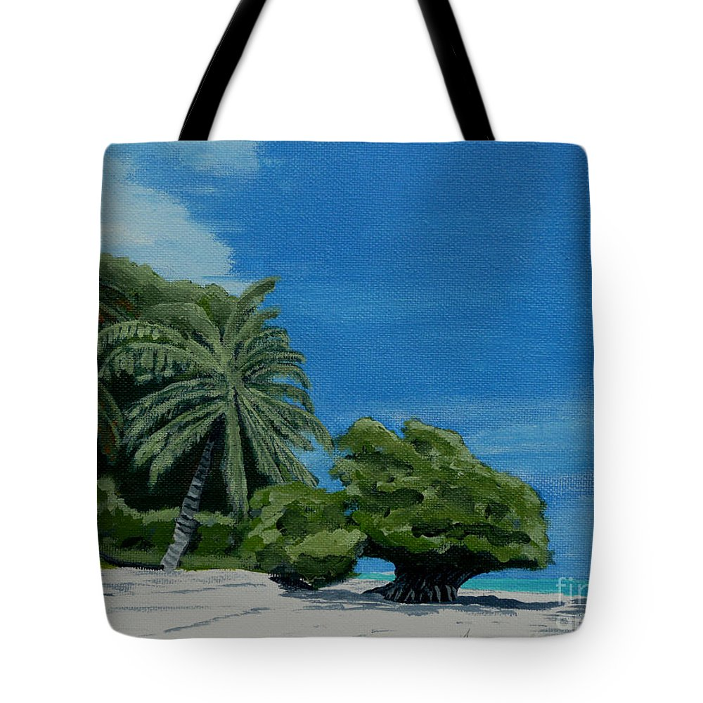 Beach Tote Bag featuring the painting Tropical Beach by Anthony Dunphy