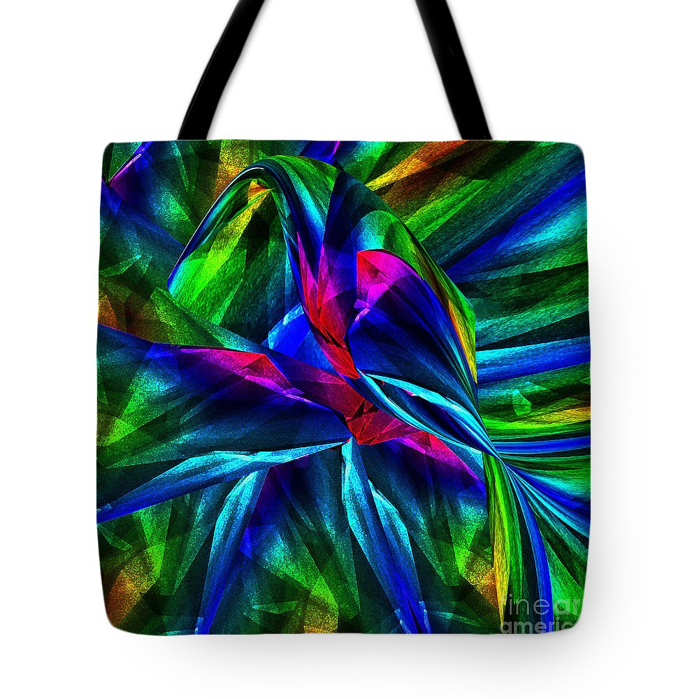 Bird Tote Bag featuring the digital art Tropical Bird Sits On A Tropical Tree by Klara Acel