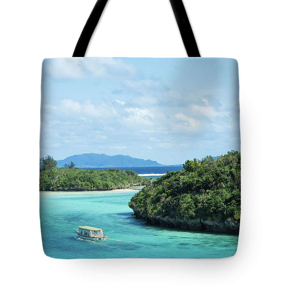 Outdoors Tote Bag featuring the photograph Tropical Blue Lagoon And Lush Rock by Ippei Naoi