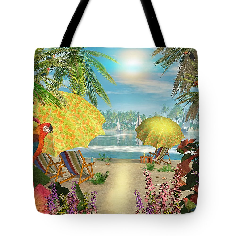 Art Licensing Tote Bag featuring the mixed media Tropical Delight by Caplyn Dor