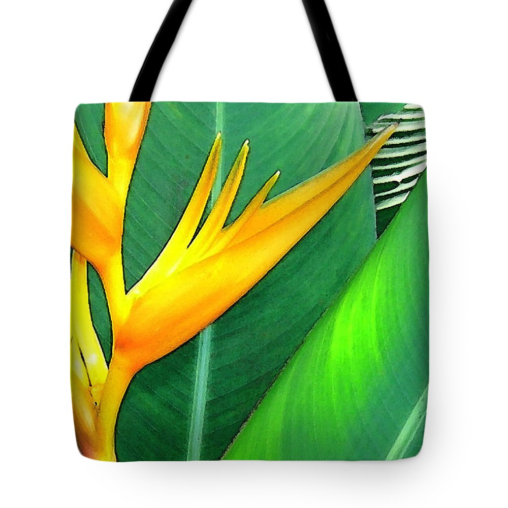 Yellow Heliconia Tote Bag featuring the photograph Tropical Fingers by James Temple