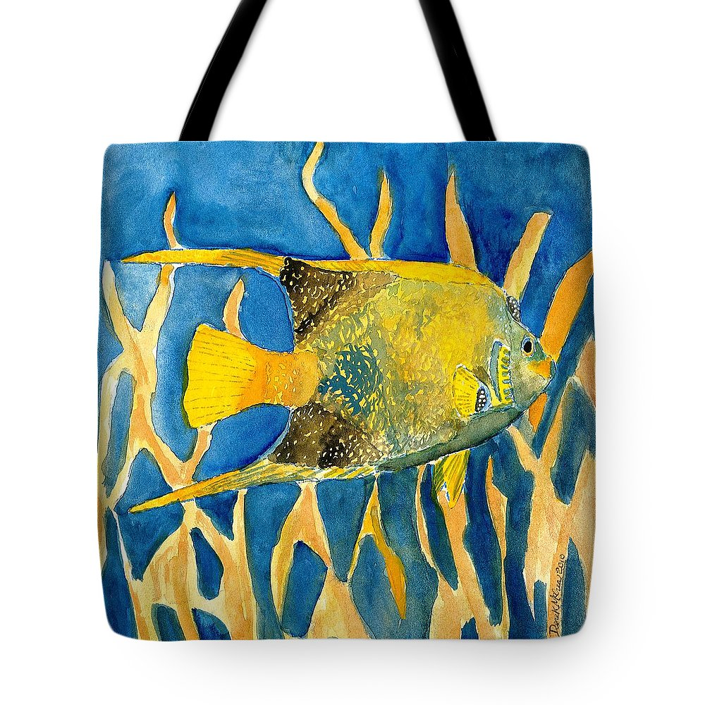 Tropical Tote Bag featuring the painting Tropical Fish Art Print by Derek Mccrea