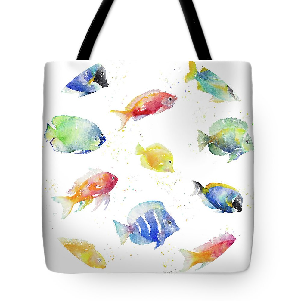 Tropical Tote Bag featuring the painting Tropical Fish Round by Lanie Loreth