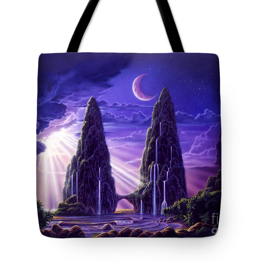 Tropical Tote Bag featuring the digital art Tropical Hideaway by Robin Koni