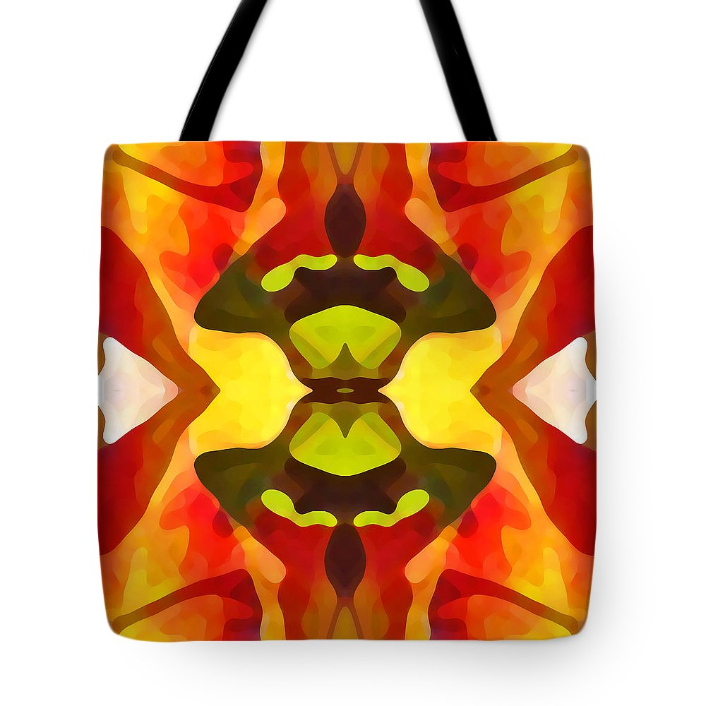 Abstract Tote Bag featuring the painting Tropical Leaf Pattern 1 by Amy Vangsgard