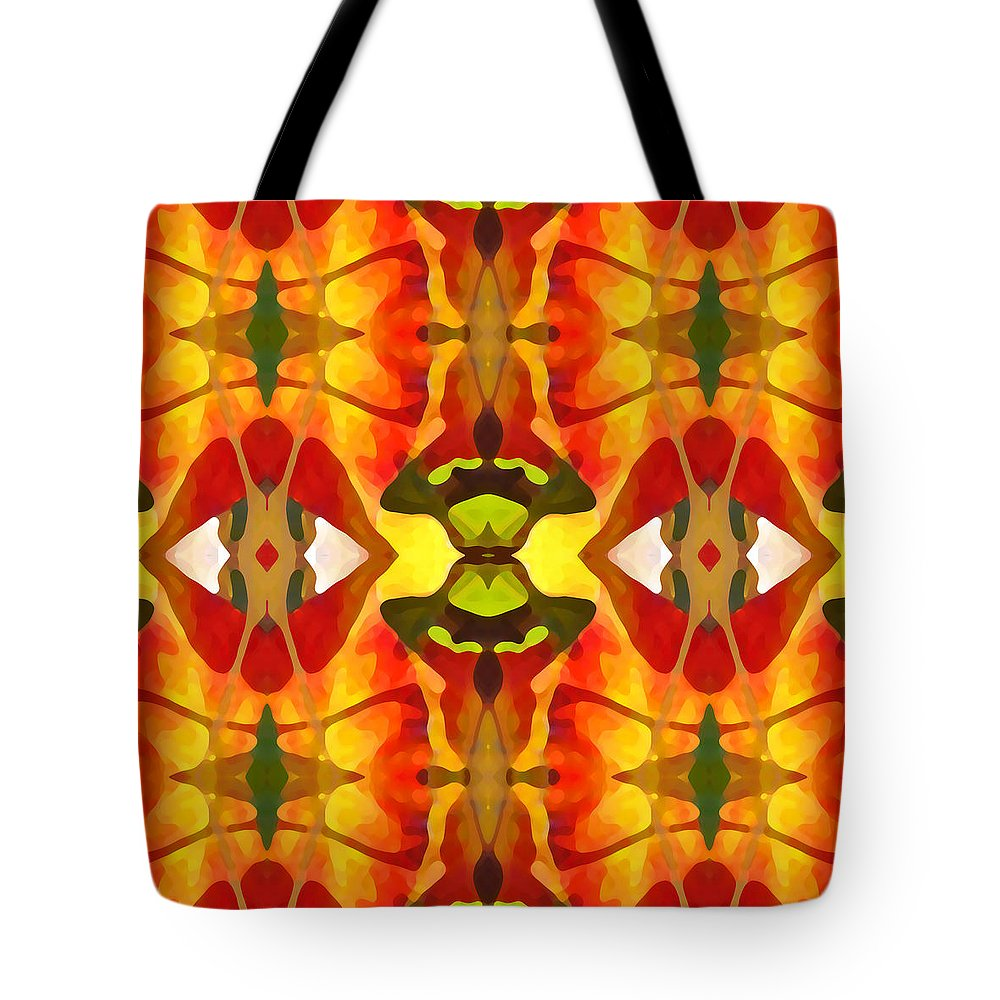 Abstract Tote Bag featuring the painting Tropical Leaf Pattern 4 by Amy Vangsgard