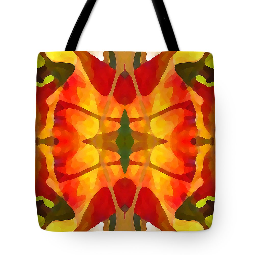 Abstract Tote Bag featuring the painting Tropical Leaf Pattern5 by Amy Vangsgard