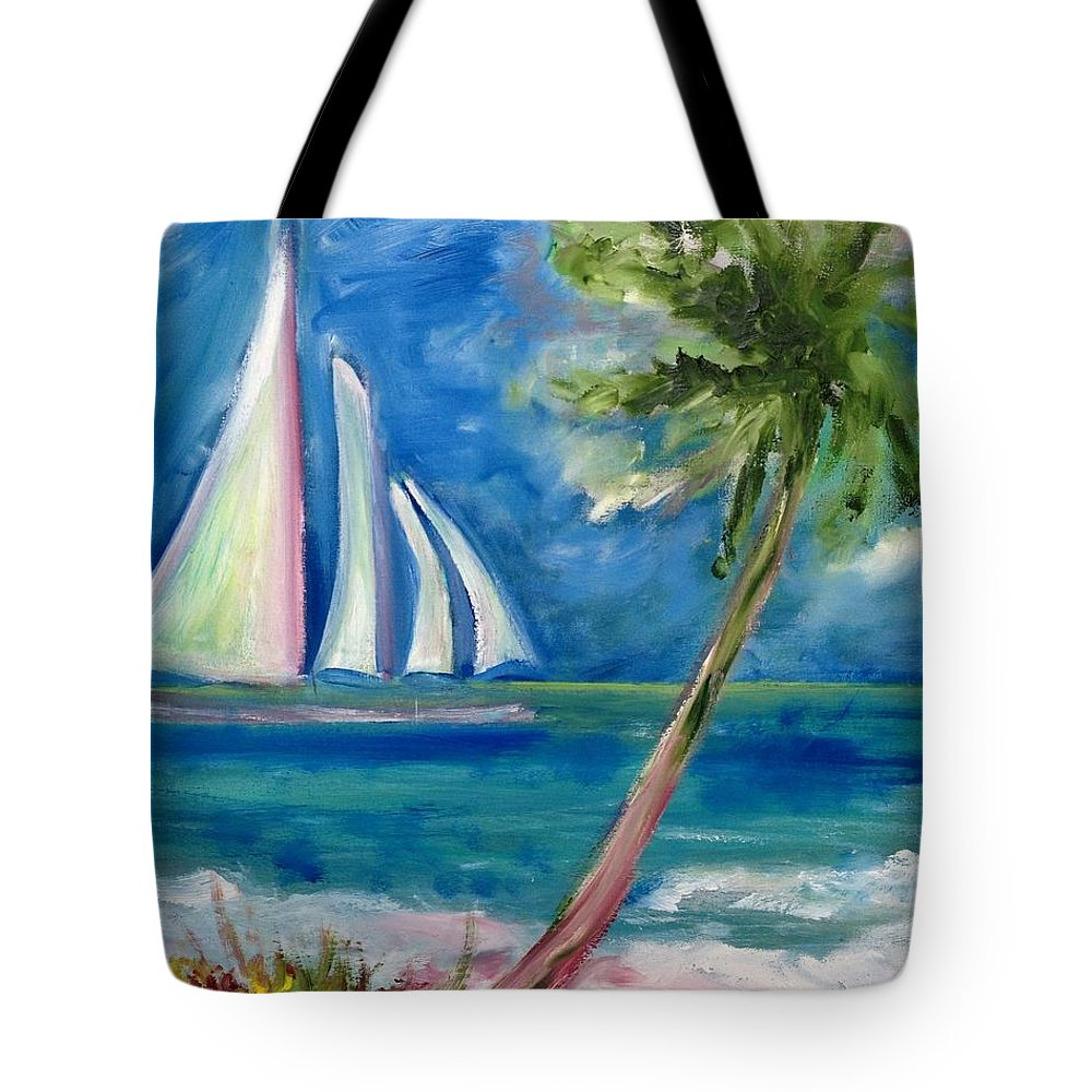 Sailboat Tote Bag featuring the painting Tropical Sails by Patricia Taylor