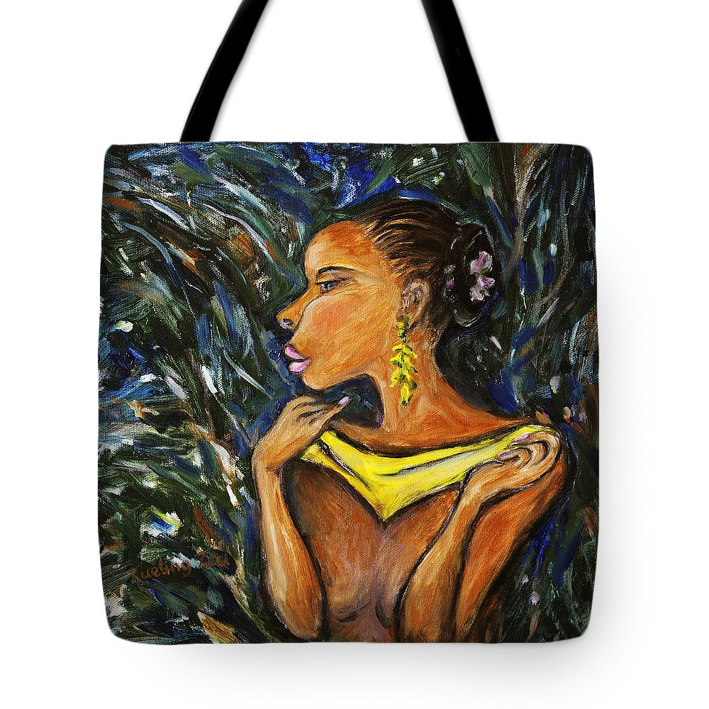 Figurative Tote Bag featuring the painting Tropical Shower by Xueling Zou