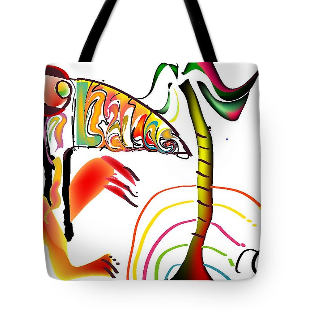 Life's Crazy Tote Bag featuring the digital art Tropical Toucan by Andy Cordan