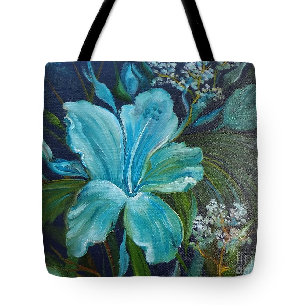 Tropical Blue Floral Print Tote Bag featuring the painting Tropical Turquoise by Jenny Lee