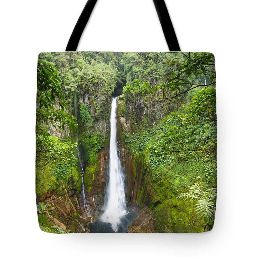 Bajos Del Toro Tote Bag featuring the photograph Tropical Waterfall In Volcanic Crater by Oscar Gutierrez