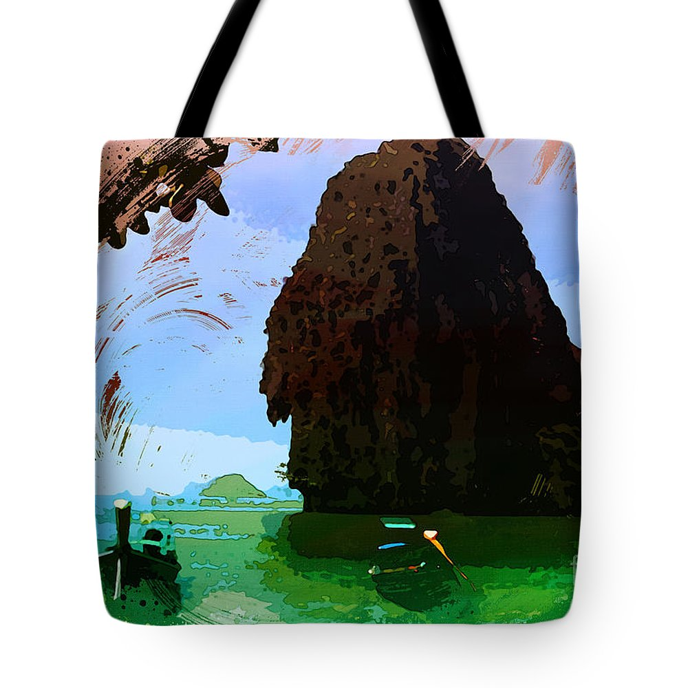 Tropics Tote Bag featuring the painting Tropics by Celestial Images