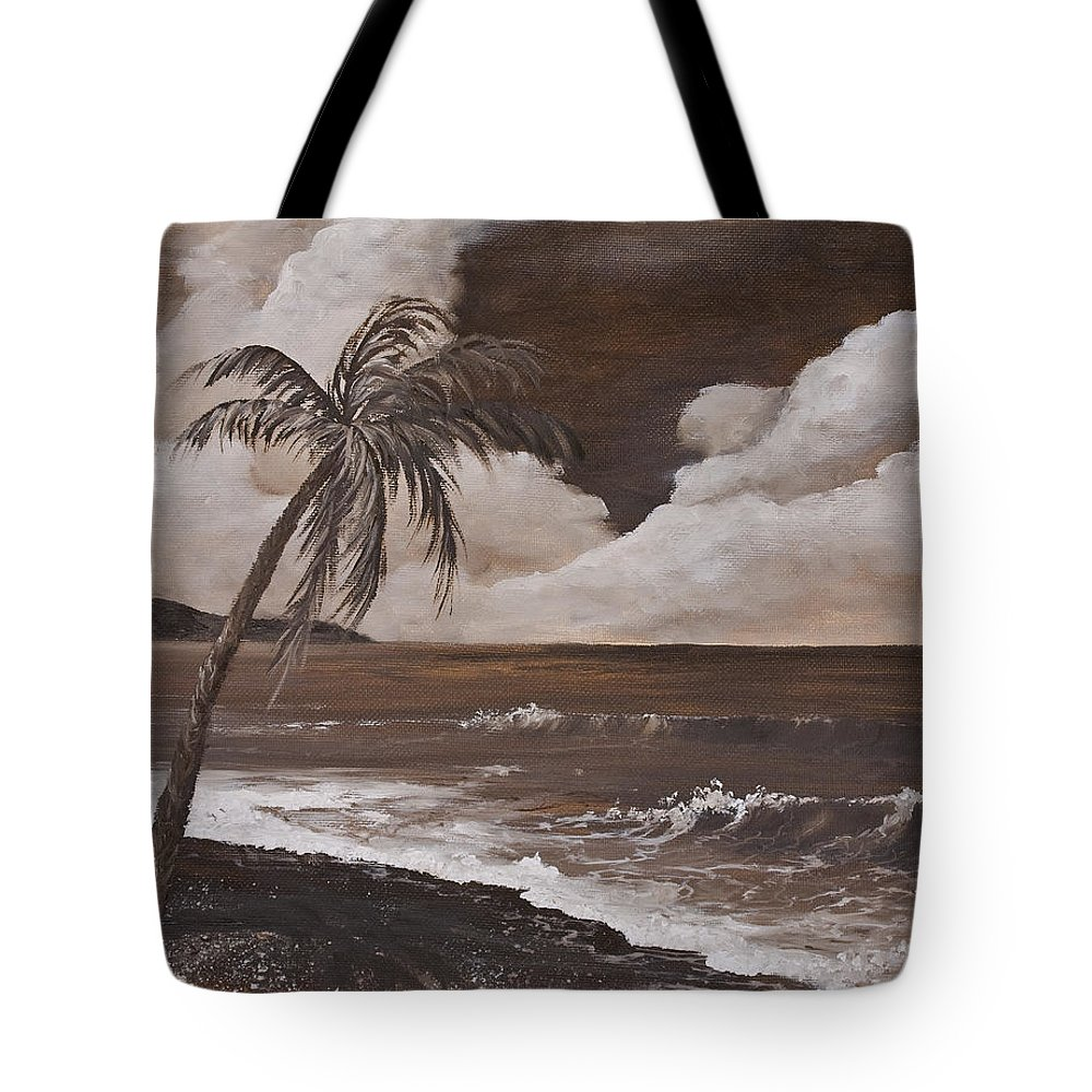 Hawaiian Island Tote Bag featuring the painting Tropics In Brown by Darice Machel McGuire