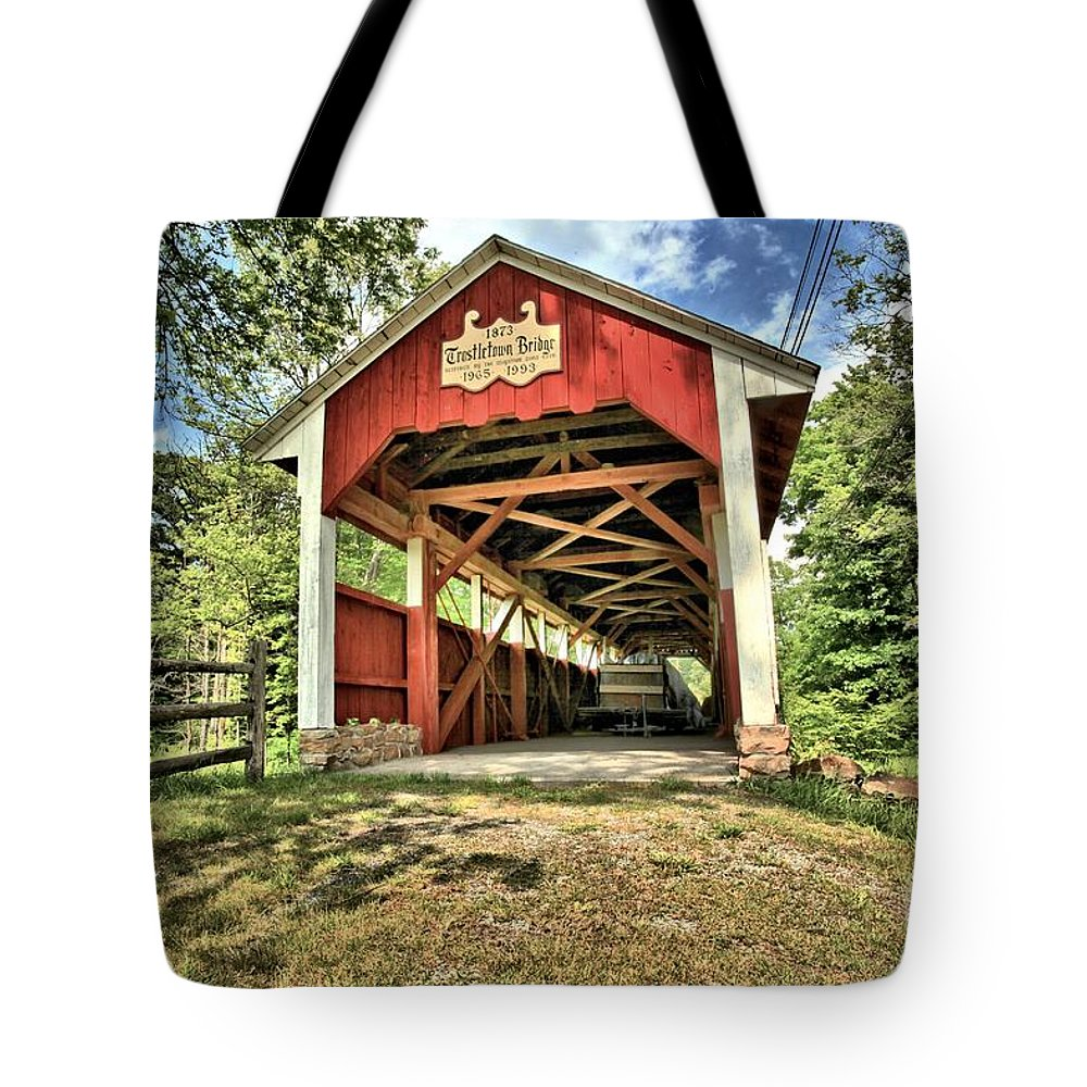Covered Bridge Tote Bag featuring the photograph Trostle Town Covered Bridge by Adam Jewell