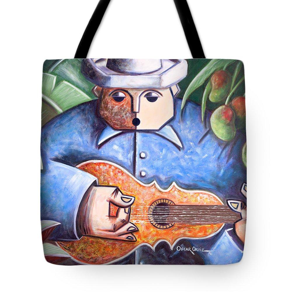 Puerto Rico Tote Bag featuring the painting Trovador de mango bajito by Oscar Ortiz