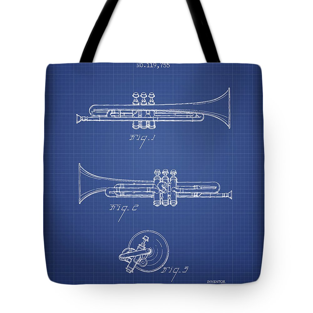 Trumpet Tote Bag featuring the digital art Trumpet Patent From 1940 - Blueprint by Aged Pixel