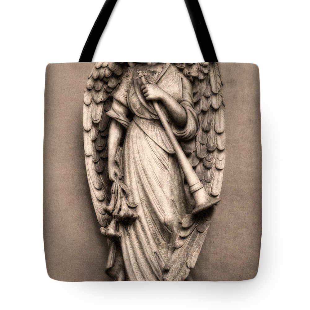 Lake View Tote Bag featuring the photograph Trumpeter Angel by Tom Mc Nemar