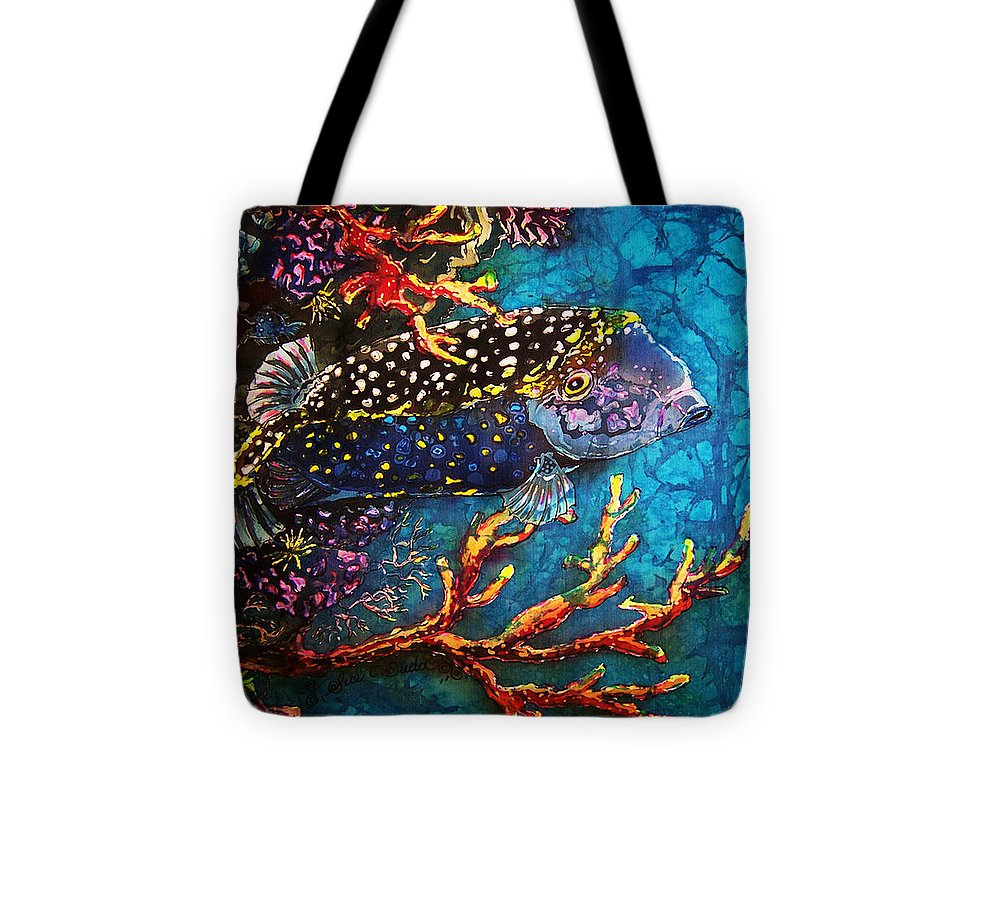 Trunkfish Tote Bag featuring the painting Trunkfish - Male by Sue Duda
