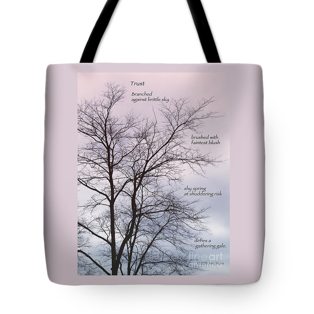 Spring Tote Bag featuring the photograph Trust by Ann Horn
