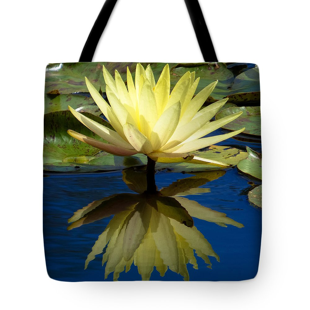 Water Lilyyellowbluewater Tote Bag featuring the photograph Truth Reflected by Jeanette Wygant