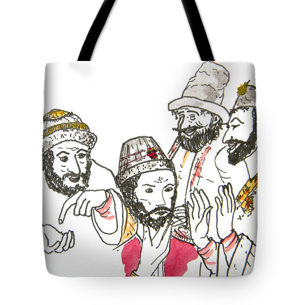 Maiden Wiser Than The Tsar Tote Bag featuring the drawing Tsar And Courtiers by Marwan George Khoury
