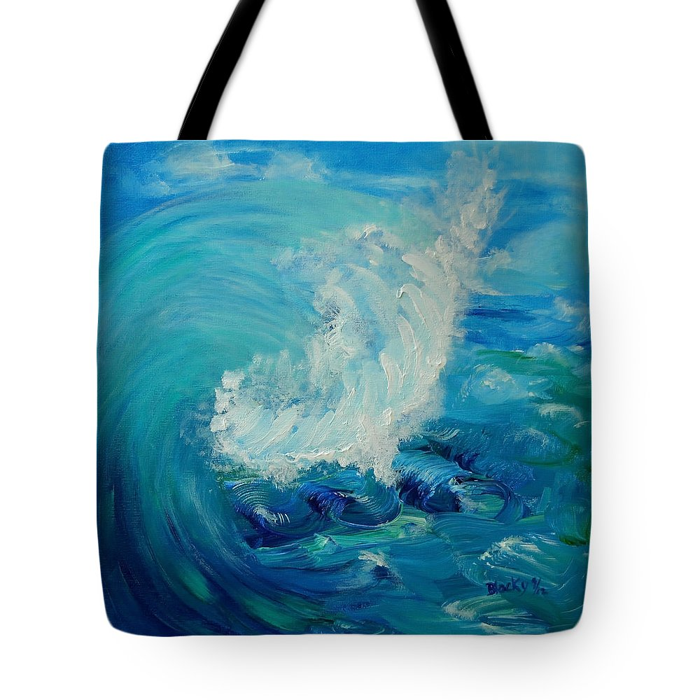 Ocean Tote Bag featuring the painting Tsunami by Donna Blackhall