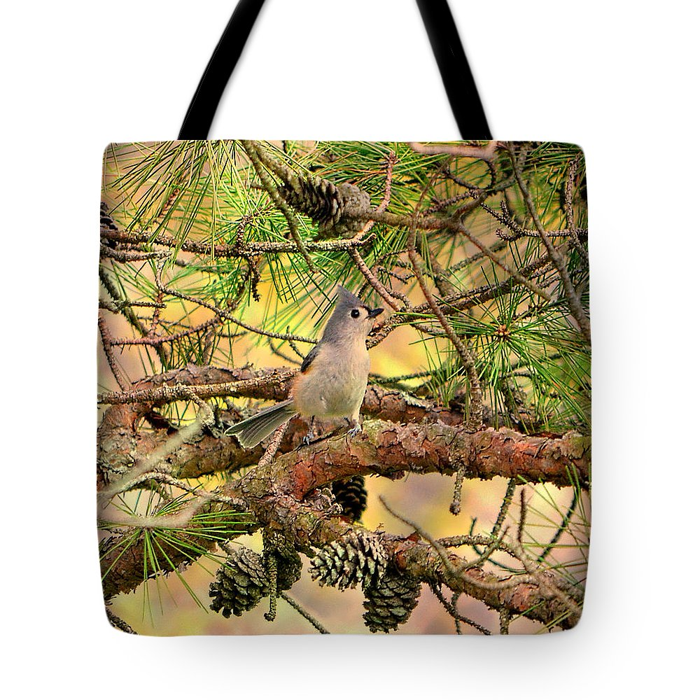 Bird Tote Bag featuring the photograph Tufted Titmouse by Deena Stoddard