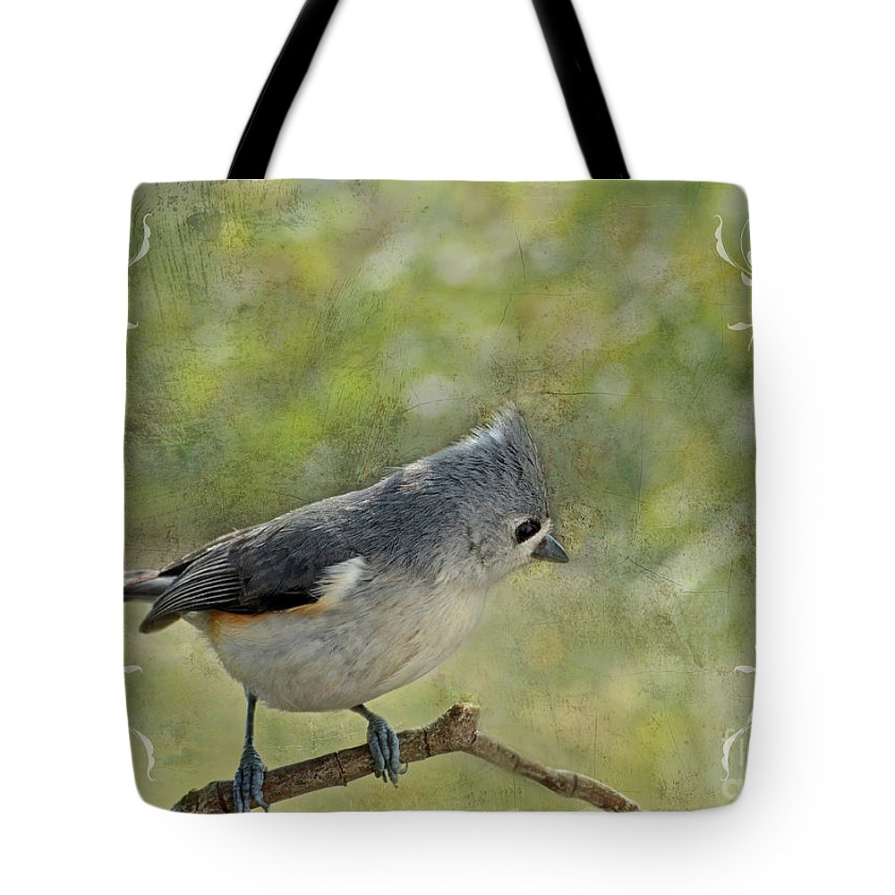 Nature Tote Bag featuring the photograph Tufted Titmouse With Decorations II by Debbie Portwood