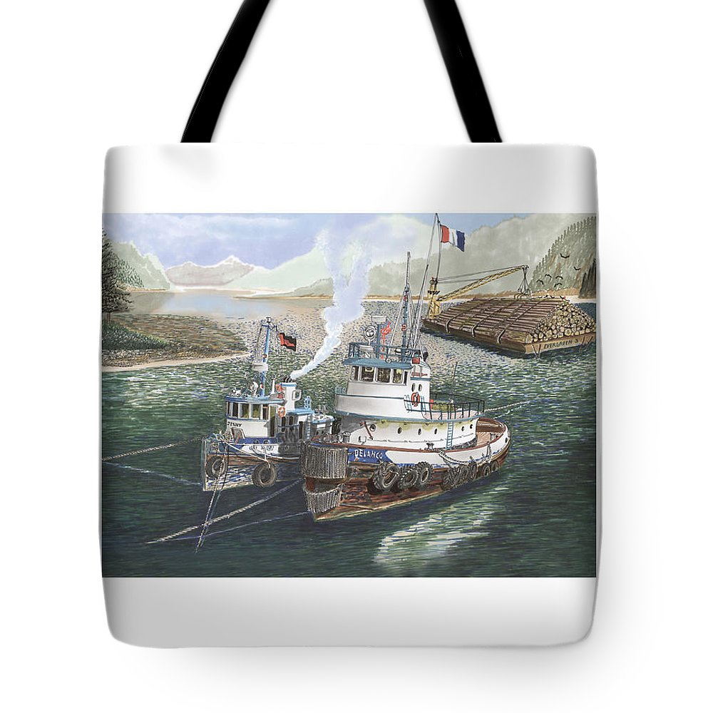 Gale Warning Tote Bag featuring the painting Gale Warning Safe Harbor by Jack Pumphrey