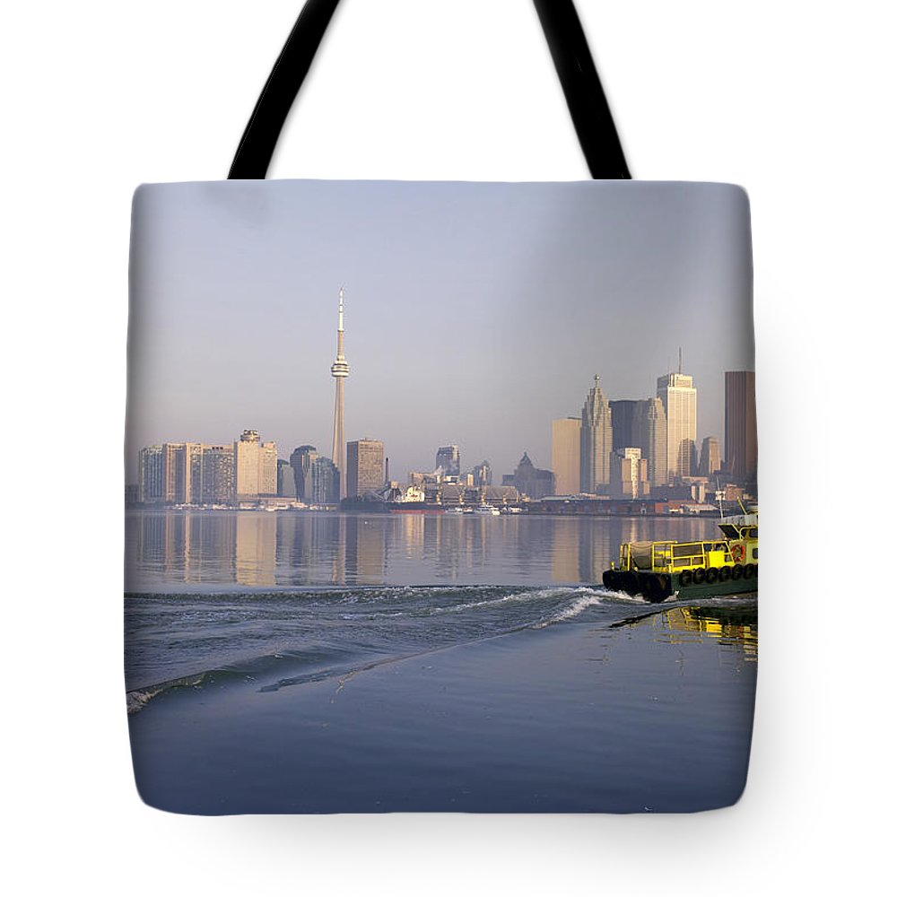 Light Tote Bag featuring the photograph Tugboat And City Skyline, Toronto by Roderick Chen