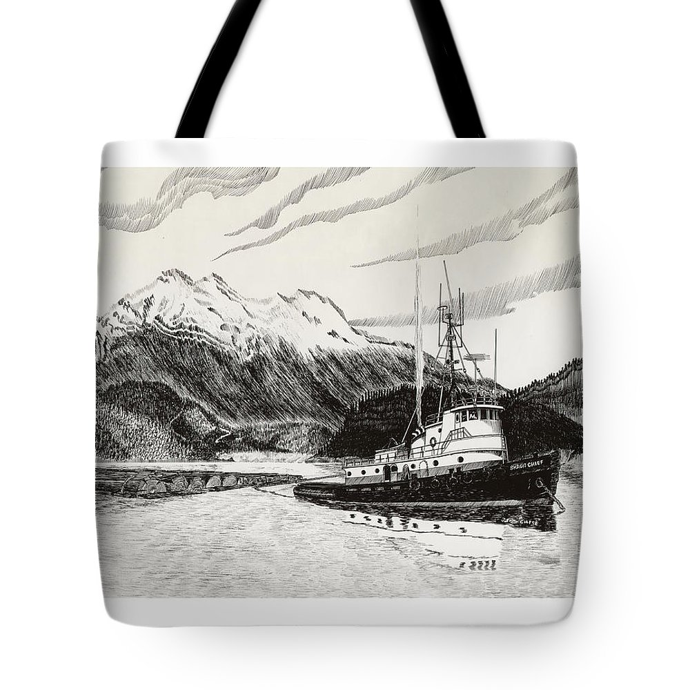 Tugboat Skagit Chief Prints Tote Bag featuring the drawing Skagit Chief Tugboat by Jack Pumphrey