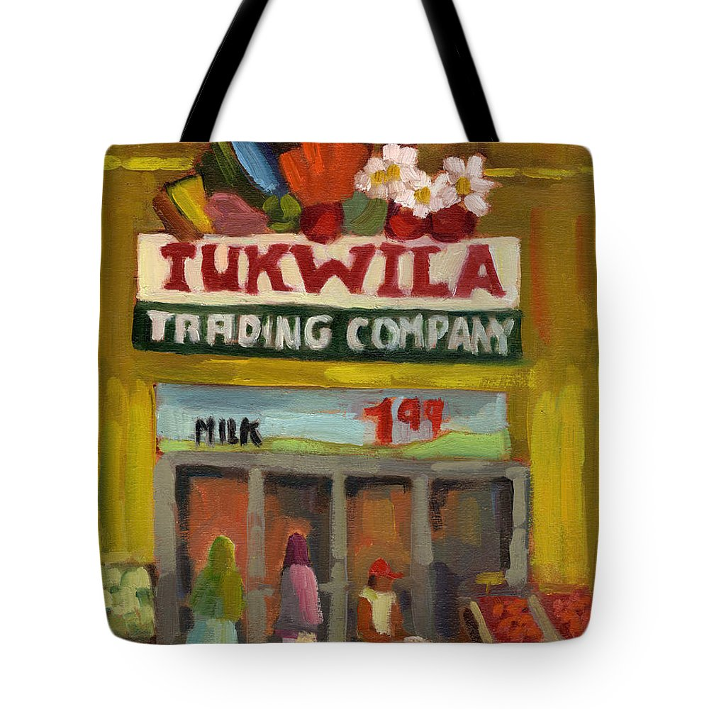 Federal Way Tote Bag featuring the painting Tukwila Trading Co. by Diane McClary