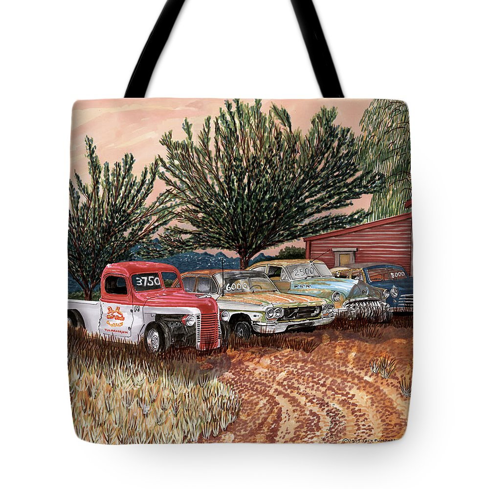 Classic Car Art Tote Bag featuring the painting Tularosa Motors by Jack Pumphrey