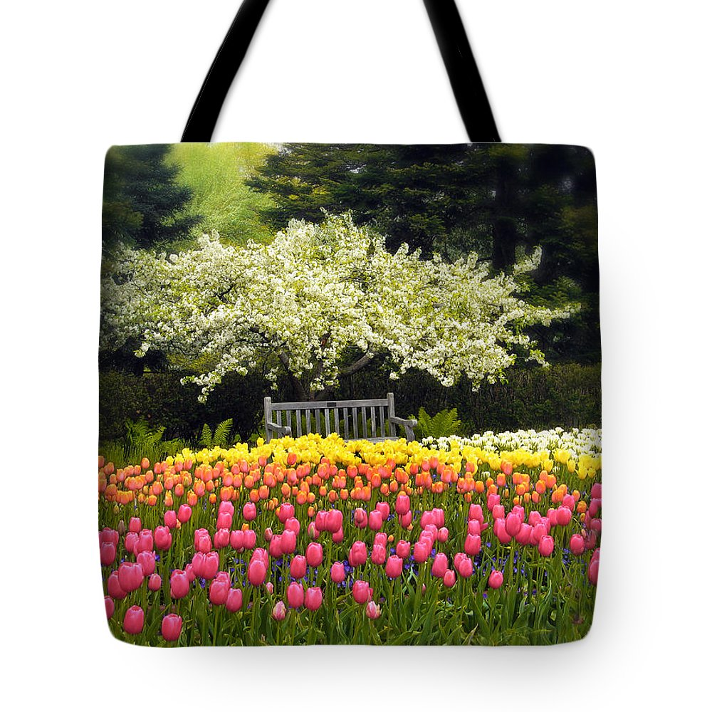 Flowers Tote Bag featuring the photograph Tulip Garden by Jessica Jenney
