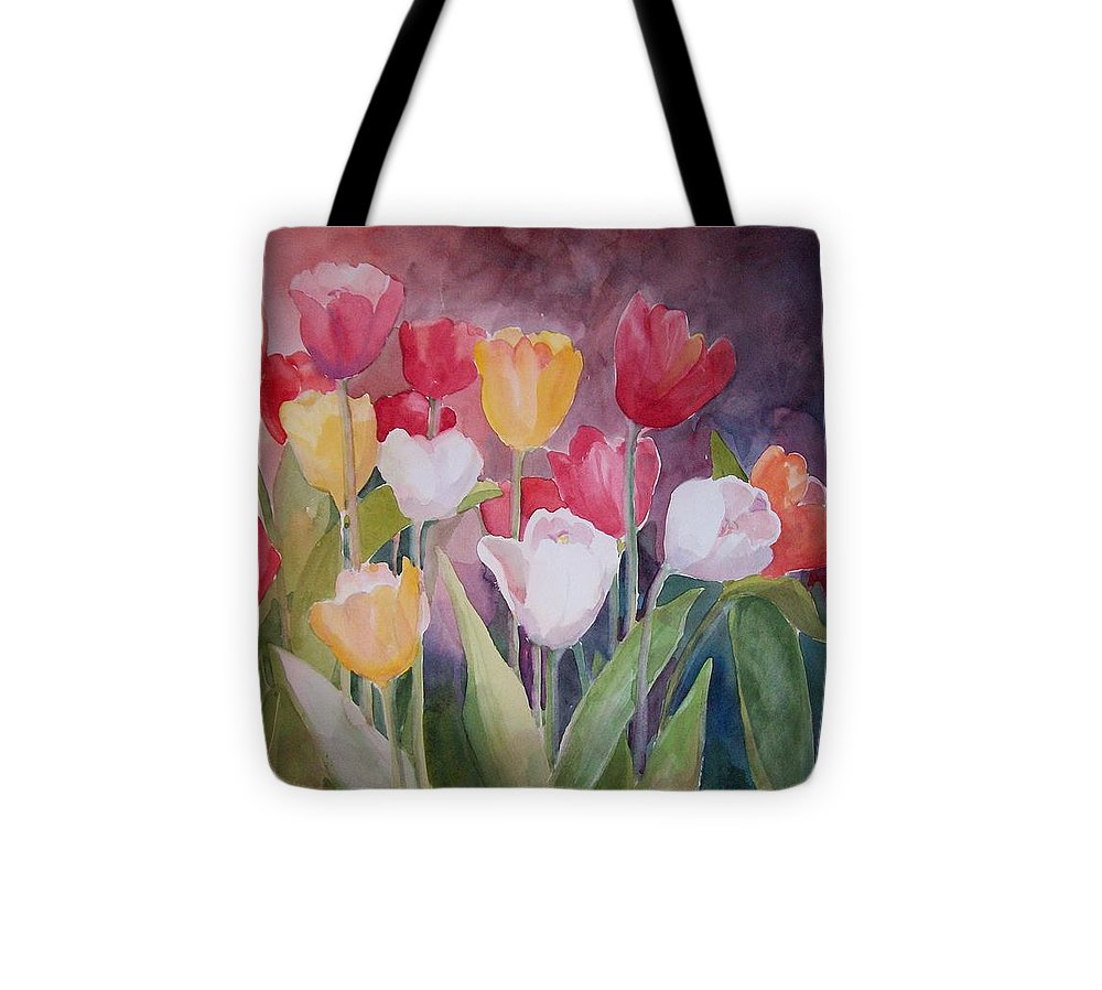 Tulips Tote Bag featuring the painting Tulip Garden by Sue Kemp